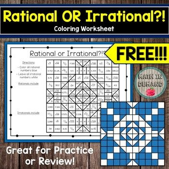 Rational Or Irrational Coloring Worksheet Free Color Worksheets Irrational Numbers Math Coloring Worksheets Rational and irrational worksheets