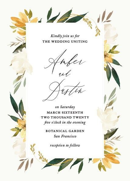 Perfect Spring And Summer Wedding Invitation With Yellow Flowers And Greenery Wildflower Wedding Invitations Wedding Planning Websites Floral Invitation