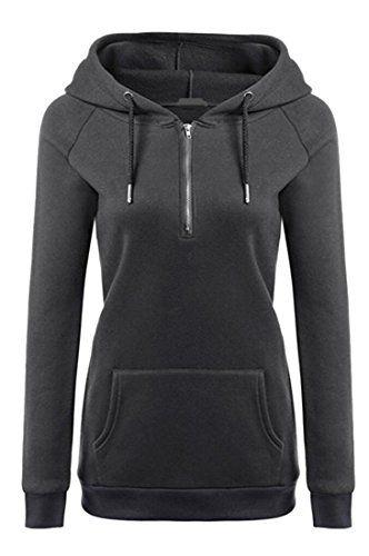 Yayu Womens Color Print Long Sleeve Kangaroo Pocket Hoodies Sweatshirts