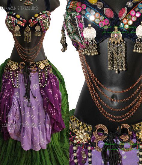 Belly Dance Bra, Belly Dance Outfit, Belly Dance Costumes, Tribal Fusion, Dance Outfits, Boho Outfits, Dance Oriental, Estilo Tribal, Tribal Costume