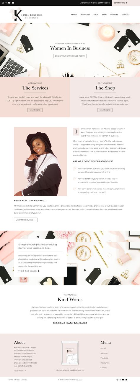 Website home page redesign for Karmen Kendrick Design Studio. Karmen is an Atlanta-based graphic + web designer helping women in business design beautiful, modern, and feminine WordPress websites that attract their ideal clients.