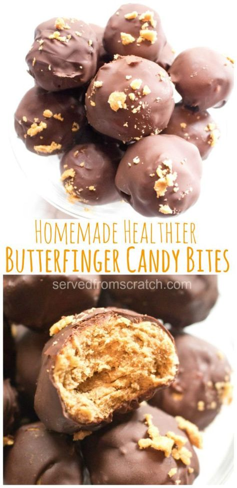 These Copycat Butterfinger Candy Bites are a healthier, corn syrup free, easy to make, delicious little bite of your favorite candy bar! #candy #copycat #butterfinger #easy #recipe