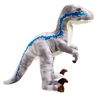 Jurassic World Ginormous Velociraptor Blue Kid-Sized Dinosaur Plush Figure