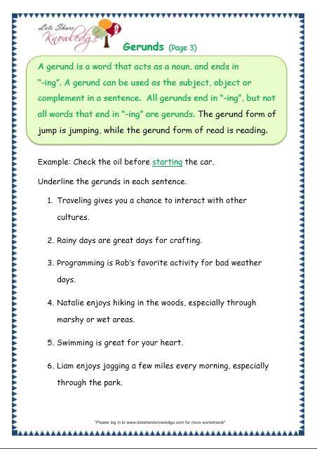 Gerunds Worksheet Worksheets For Grade 3 Worksheets Grammar Grammar worksheets for grade pdf