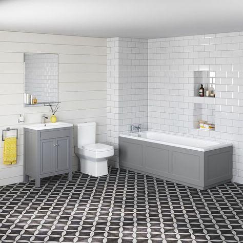 belfort toilet, 1700mm single ended bath with earl grey
