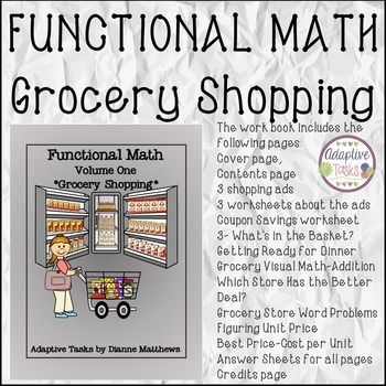 Functional Math Volume 1 Grocery Shopping Math Worksheets Math Worksheet Volume Math