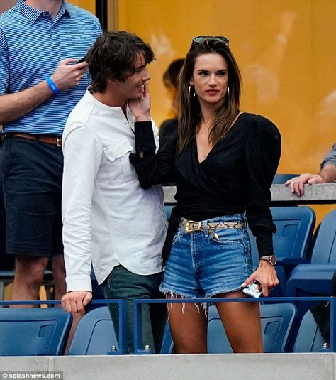 Smitten: Alessandra Ambrosio looked completely head over heels in love with her new boyfriend Nicolo Oddi during the US Open finals in Queens, New York on Saturday evening