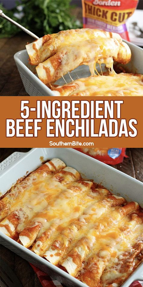 You only need 5 ingredients to put these quick and easy enchiladas on the table on a busy weeknight! This recipe is super delicious! #southern #enchiladas #easy #quick #recipe
