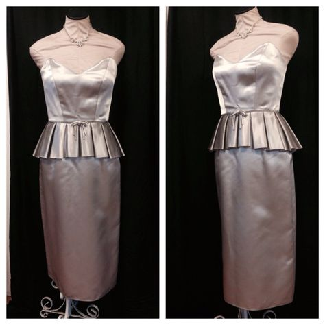 Vintage Bombshell 1950s 50s silver satin by RockinTheVintage