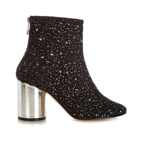 Maison Margiela Glitter-embellished ankle boots (640 CHF) ❤ liked on Polyvore featuring shoes, boots, ankle booties, black, black bootie, black ankle bootie, embellished ankle boots, black shootie and glitter booties