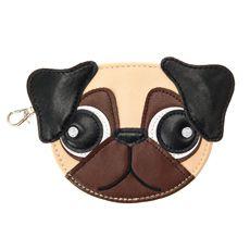 Pug accessory embroidered pug coin purse pug applique pug pouch Blue purse Pug blue coin purse pug sanitary holder Pug purse