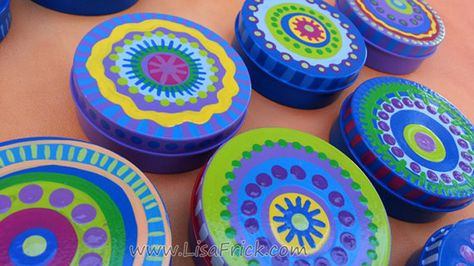 Colorful Hand Painted Stash Tin Pill Box by LisaFrick on Etsy