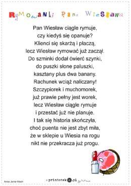 Rymowanki Pana Wiesia Wierszyk Printotekapl Edukacja