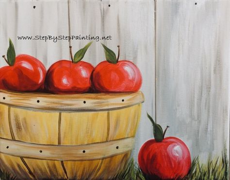 How To Paint An Apple With Acrylics - Apple Picking Basket