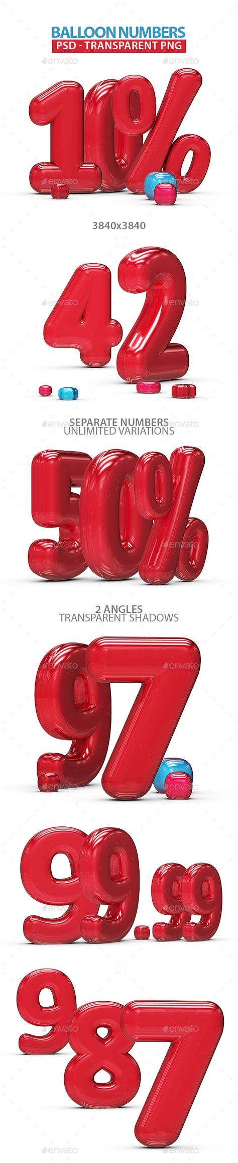 3D Graphics & Renders - Inflated Balloon Numbers