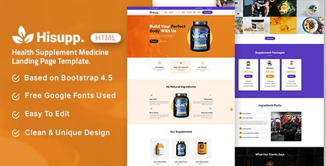 Hisupp — Health Supplement Medicine Landing Page Template | Stylelib