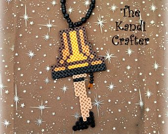 A Christmas Story Fra Gee Lay Leg Lamp Beaded Perler Art Tree Ornament Perler Crafts Perler Bead Patterns A Christmas Story