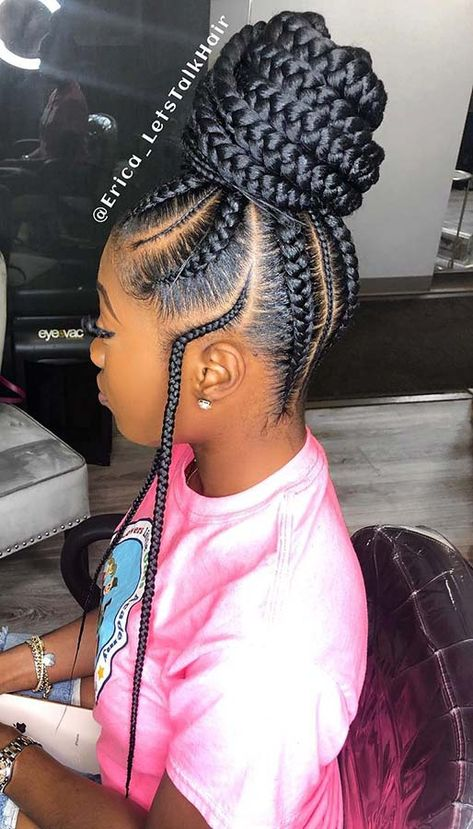 15 Hairstyles for Black Women We're Loving Right Now; Top 32 Braided Hairstyles for Black Women That are Trending in 2019 Crochet Box Braids Hairstyles for Black Women Black Girl Braided Hairstyles, Braided Ponytail Hairstyles, Black Girl Braids, African Braids Hairstyles, Braids For Black Hair, Girls Braids, Weave Hairstyles, Short Hairstyles, Teenage Hairstyles