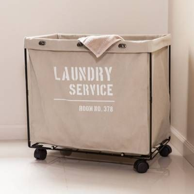 Product Image For Danya B Army Canvas Laundry Hamper On Wheels In