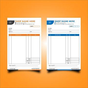 Cash Memo With Two Color Varriation Memo Invoice Design Template Memo Format