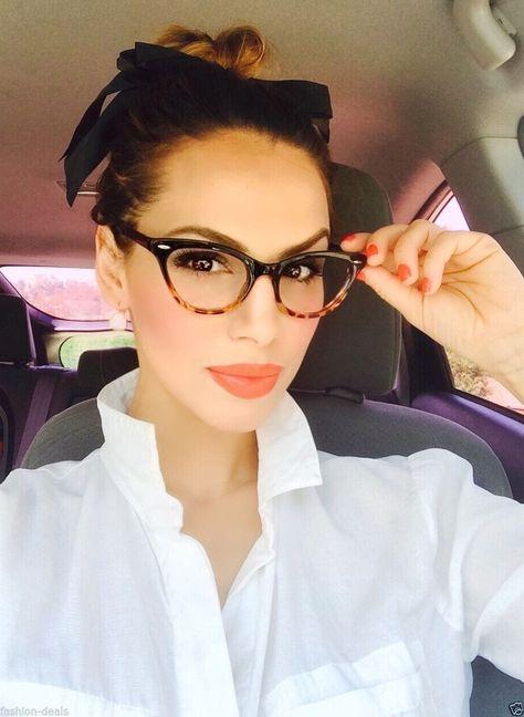 536b52f393 Cat Eye BLACK Tortoise Bottom Gradient Ombre Eyeglasses Clear Lens in  Clothing