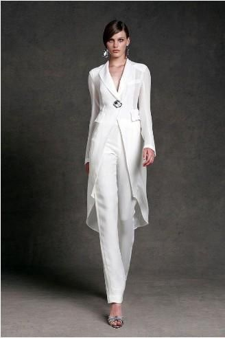 2015 Mother of The Bride Pant Suits V Neck Floor Length Long Sleeve White With Jacket Mothers Dresses For Beach Weddings MM282