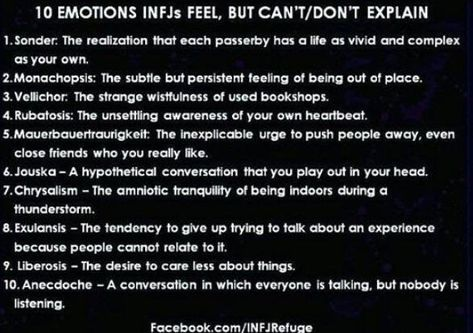 Can you relate as an INFJ to any/all of these feelings? : infj