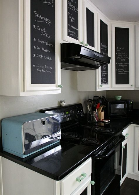Retro Style Kitchen Makeover With Chalkboard Paint Cabinets