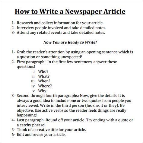 FREE 7+ Newspaper Article Samples in PDF | MS Word | PSD
