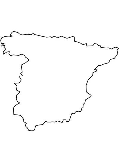 Click To See Printable Version Of Outline Map Of Mainland Spain