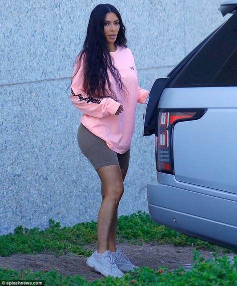 bbaf59940357a Here for my man  Kim Kardashian was seen dressed down in casual Yeezy  athletic wear as she...  kimkardashian  yeezy