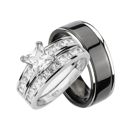 Laraso Co His Hers Cz Wedding Ring Set Sterling Silver Black Titanium Bands For Him Her 11 13 Walmart Com Wedding Ring Sets Cz Wedding Ring Sets Cz Wedding Rings