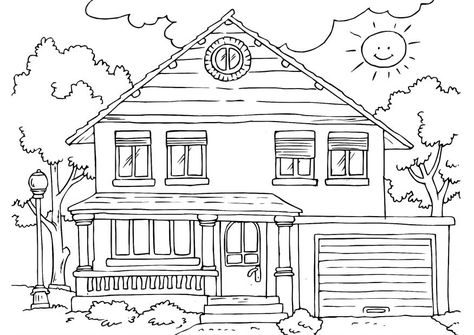 Blank House Coloring Page With Images Preschool Family Theme