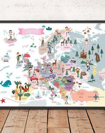 Mapa Europy Plakat 50x70 Cm Plakat Mapa Alfabet