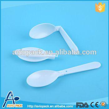 Custom Heat Resistant White Plastic Pp Foldable Soup Spoon Cucharas