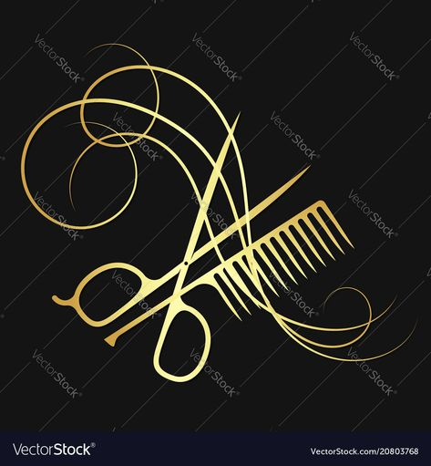 Hairdressing scissors and comb hair curl gold color. Download a Free Preview or High Quality Adobe Illustrator Ai, EPS, PDF and High Resolution JPEG versions.
