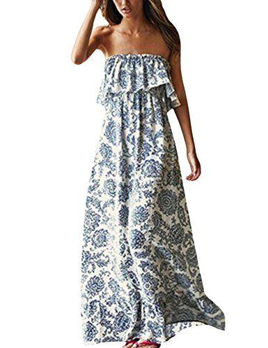 Yidarton Damen Sommer Kleider Blau Und Weiss Porzellan Tra Https Amzn To 2wextxa Tragerlose Sommerkleider Maxikleid Boho Lange Kleider