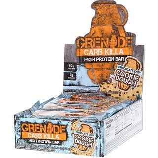 Grenade Carb Killa High Protein Bar Chocolate Chip Cookie Dough 12 Bars 2 12 Oz 60 G Each In 2020 Chocolate Chip Cookie Dough High Protein Bars Protein Bars