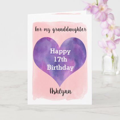 Pretty Pink And Purple Granddaughter 17th Birthday Card Zazzle Com In 2020 Birthday Cards Birthday Cards For Niece 17th Birthday