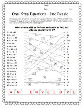 One Step Equations Riddle Activity One Step Equations Multi Step Equations Worksheets Equations One step algebra worksheet pdf