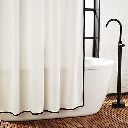 Capri Black Border Shower Curtain Reviews Cb2 White Shower