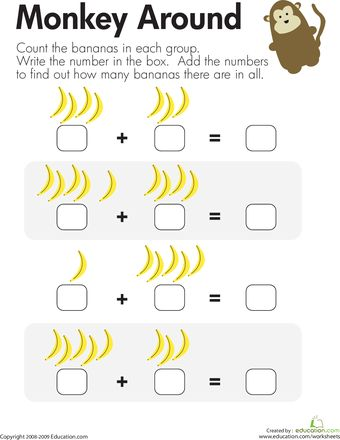 Monkey Math Add The Bananas Worksheet Education Com Math For Kids Preschool Math Kindergarten Math Worksheets