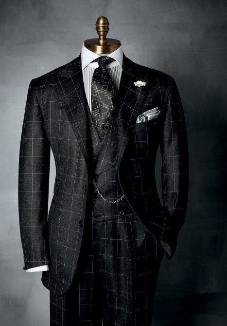 """HABERDASHERY Collection ~ Windowpane has been a standard pattern in HABERDASHERY, men's suiting. And we adore it in home furnishings for the """"sophisticated guy"""" in black, charcoal, and smoke, beautiful wool milled in Italy. Sharp Dressed Man, Well Dressed Men, Mens Fashion Suits, Mens Suits, Men's Fashion, Guys In Suits, Nice Suits, Fashion Styles, Mode Costume"""
