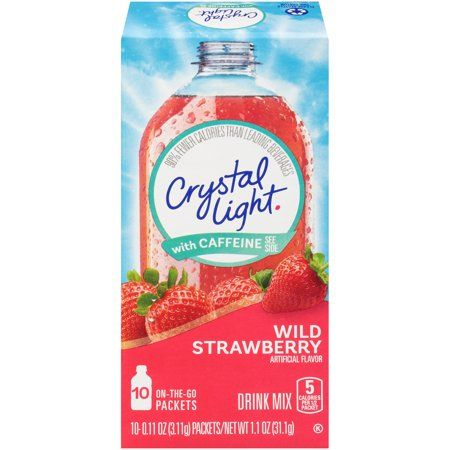 4 Pack Crystal Light On The Go Sugar Free Wild Strawberry With Caffeine 10 Packets Wild Strawberries Strawberry Drinks Crystal Lighting
