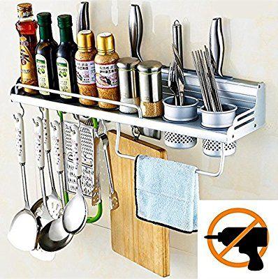 Amazon Com Graces Dawn Aluminum Multipurpose Kitchen Utensils Holder Organizer No Drilling 23 5in Kitchen Organizer Rack Storage Stand Kitchen Utensil Holder