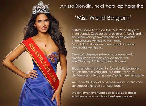 Anissa Blondin is the new Miss World Belgium 2014