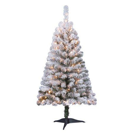 Holiday Time 4ft Pre Lit Flocked Greenfield Pine Artificial Christmas Tree With 105 C Pine Christmas Tree Artificial Christmas Tree Christmas Tree Clear Lights