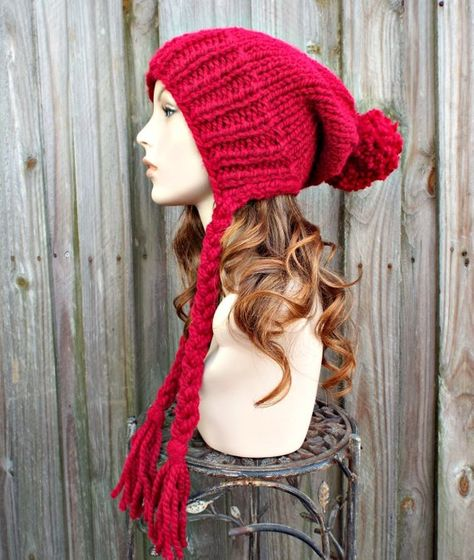 4f6d8d64395 Cranberry Red Slouchy Hat Womens Hat Red Hat Red Beanie Slouchy ...