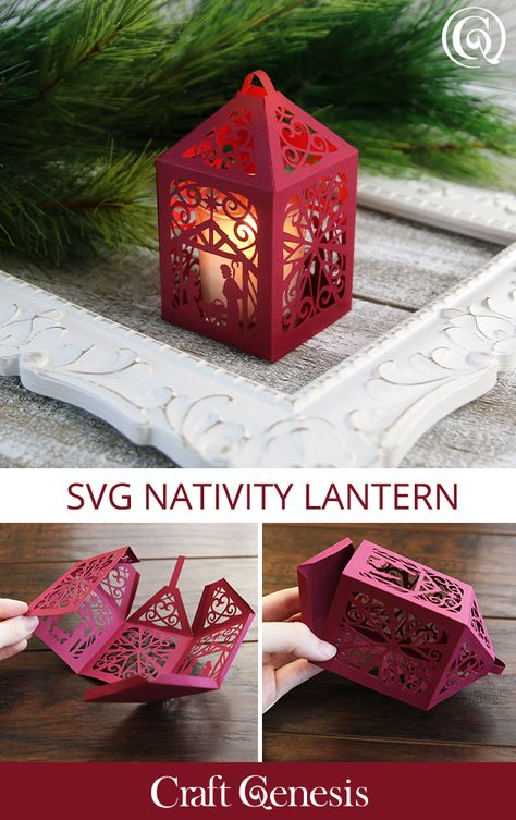 Let your creativity will glow with this SVG lantern. The beauty of Christmas and a glistening battery-powered votive adds a relaxing feel to your décor. Use your Cricut, Silhouette, or other cutting machines to craft this stunning design. Christmas Bible, Christmas Svg, Diy Christmas Ornaments, Christmas Projects, Christmas In July, Handmade Christmas Decorations, Holiday Crafts, Lantern Craft, Paper Cut Design