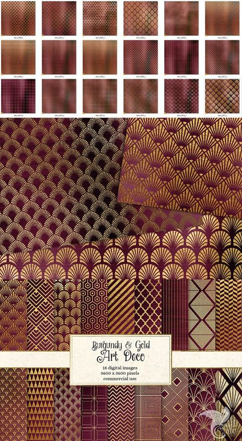Burgundy and Gold Art Deco Patterns